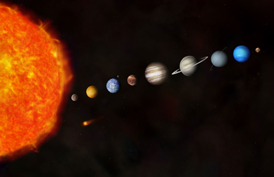 stylised view of our Solar System (not to scale). Image Credit: NASA ...