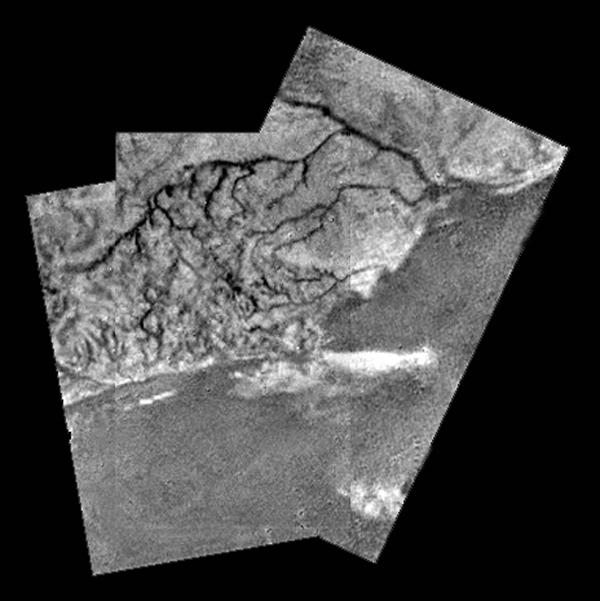 River channels and a shoreline on Titan from the Huygens probe.
