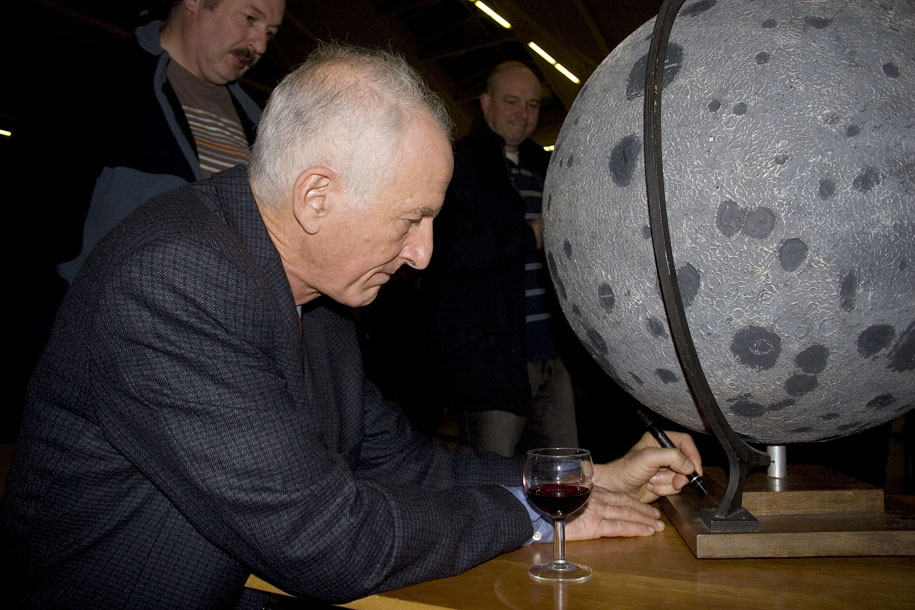 Professor Hoffman also signs the base of our Moon globe.
